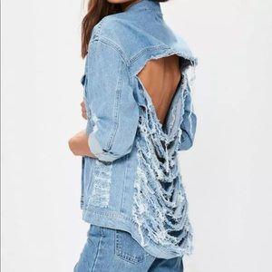 Missguided Denim Jacket Shredded